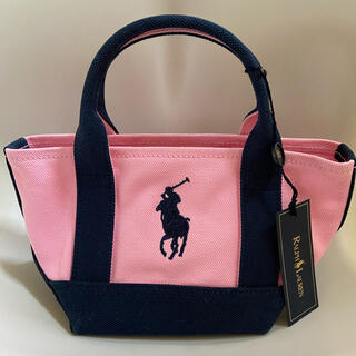 Ralph Lauren - ★ラルフローレン★ミニ トートバッグ ピンク ネイビー 新品 タグ付き