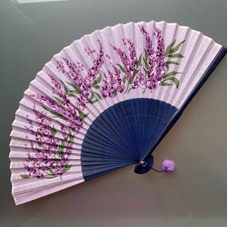 扇子 せんす 紫 花柄(その他)
