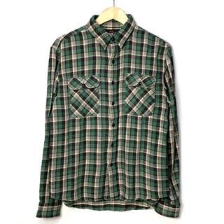 ダブルアールエル(RRL)のRRL ラルフローレン 菱形ボタン フランネルシャツ グリーン系 M 美品(シャツ)