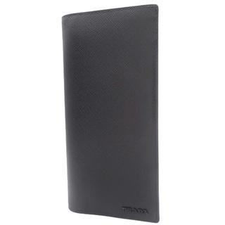 プラダ(PRADA)のプラダ 2つ折り長財布 サフィアーノ ブラック黒 グレー 40800073069(長財布)