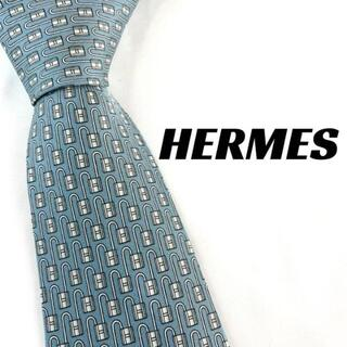 Hermes - 【1958】HERMES エルメス ネクタイ ブランド 水色系