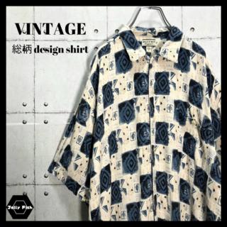 アートヴィンテージ(ART VINTAGE)の【ゆるだぼ】総柄 半袖シャツ レーヨン デザインシャツ 90s アースカラー L(シャツ)