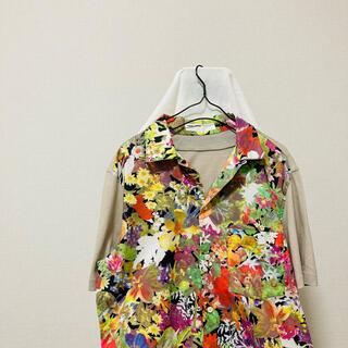 フセインチャラヤン(Hussein Chalayan)のフセインチャラヤン■花柄■半袖シャツ■オープンカラー■アロハ■切替(シャツ)