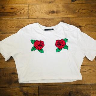 カウイジャミール(KAWI JAMELE)のKAWIJAMELE バラ柄刺繍Tシャツ(Tシャツ(半袖/袖なし))
