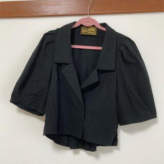 ラベルエチュード(la belle Etude)のBELLE VINTAGE テーラードジャケット 半袖 ブラック(テーラードジャケット)