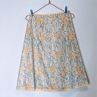 オゾック(OZOC)のOZOC イエロー 花柄 スカート(ひざ丈スカート)