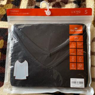 ジーユー(GU)のGU ウォーム ワイド VネックT 8分袖 ブラック(アンダーシャツ/防寒インナー)