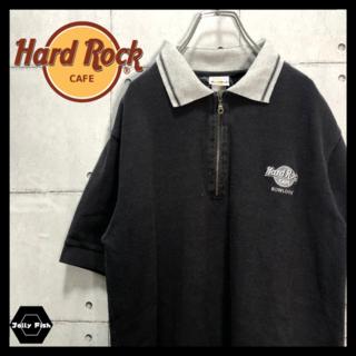 アートヴィンテージ(ART VINTAGE)の【激レア】Hard Rock CAFE 半袖 ハーフジップ ポロシャツ 黒 M(ポロシャツ)