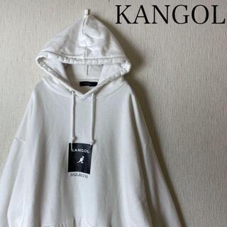 KANGOL - Kangol rageblue ボックスロゴ パーカー 白×黒 センターロゴ