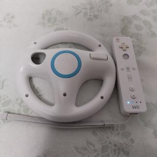 Wii - 任天堂純正品 Wiiハンドル & Wiiリモコン ストラップ付