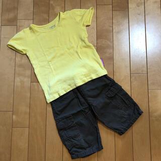 ニシマツヤ(西松屋)の黄色Tシャツ100   茶色ハーフパンツ90  2点 セット売り(その他)