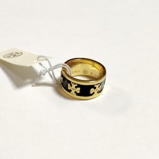 Tory Burch - 新品 トリーバーチ Tロゴリング 指輪 エナメルブラック アメリカ7号