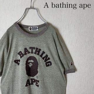A BATHING APE - A bathing ape tシャツ ビッグロゴ ヘッド グレー レーヨン