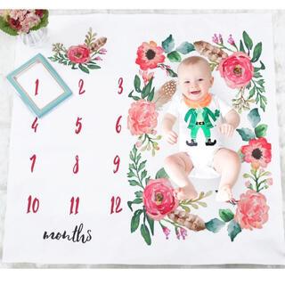 ベビー おひるね マンスリー 記念 撮影 月齢 フォト フラワー 薔薇 花柄(フォトフレーム)