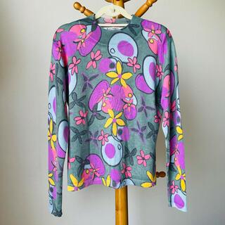 バルマン(BALMAIN)のBALMAIN バルマン カシミヤ シルク ニット M L 長袖 花柄 絹(ニット/セーター)