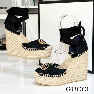 グッチ(Gucci)の2294 美品 グッチ ダブルG レザー ウェッジサンダル ブラック(サンダル)