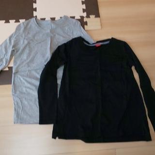 授乳口つき 長袖 Tシャツ グレー ブラック 2着(マタニティトップス)