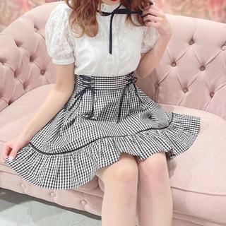 evelyn - 新品★エブリン レースアップ裾フリルスカート ブラック×チェック★