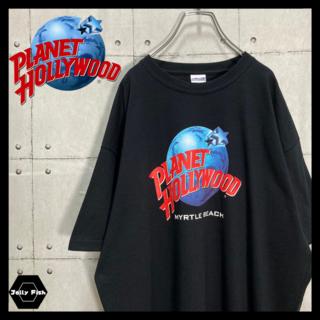 アートヴィンテージ(ART VINTAGE)の【極美品】PLANET HOLLYWOOD 半袖Tシャツ デカロゴ XL 黒(Tシャツ/カットソー(半袖/袖なし))