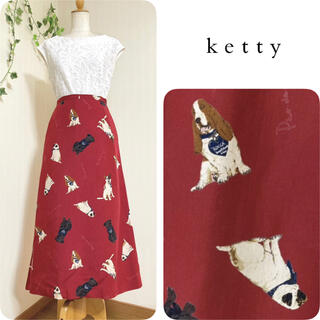 ketty - ケティ ◆ ドッグ柄ロングスカート ◆ 犬柄  アニマル パオデロ