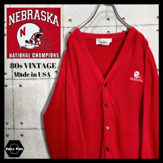 アートヴィンテージ(ART VINTAGE)の【USA製】80s ビンテージ NCAA ネブラスカ大学 ワンポイント 刺繍 赤(カーディガン)