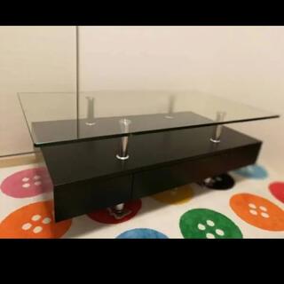ニトリ ガラステーブル スプレンダー 格安販売 美品 希少なブラックカラー!(ローテーブル)