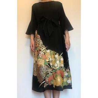 着物リメイク ワンピース ドレス 黒留袖 正絹 吉祥花文(ロングドレス)