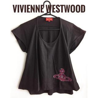 ヴィヴィアンウエストウッド(Vivienne Westwood)のヴィヴィアンウエストウッド【美品】オーブ×刺繍 半袖 フレア カットソー(カットソー(半袖/袖なし))