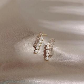 4℃ - pearl & zirconia bar pierce ◯s925 post