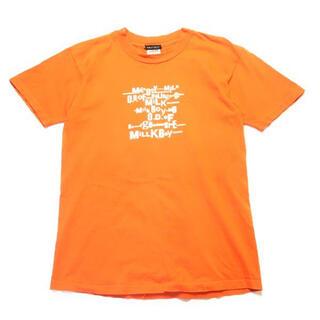 ミルクボーイ(MILKBOY)の【90s】USA製 MILK BOY ロゴ プリント Tシャツ オレンジ M(Tシャツ/カットソー(半袖/袖なし))