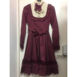 ヴィクトリアンメイデン(Victorian maiden)のクラシカルドールドレス ボルドー レジメンタルストライプ(ひざ丈ワンピース)