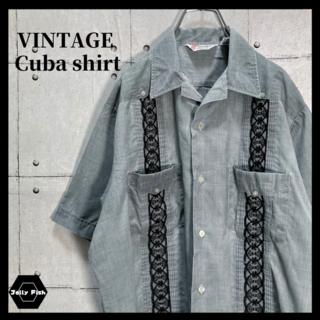 アートヴィンテージ(ART VINTAGE)の【人気】90's キューバシャツ 古着 ラインシャツ 太刺繍ライン ビンテージ(シャツ)