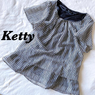 ケティ(ketty)のKetty ケティ ブラウス シャツ 総柄シャツ 総柄ブラウス ボーダー リボン(シャツ/ブラウス(半袖/袖なし))