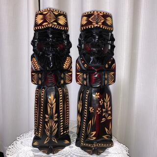 【未使用】工芸品 北海道 アイヌ 夫婦 人形 置物 木彫り(彫刻/オブジェ)