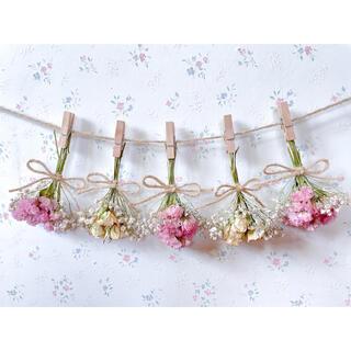 淡いバラとかすみ草のサーモンピンクドライフラワーガーランド♡スワッグ♡ミニブーケ(ドライフラワー)