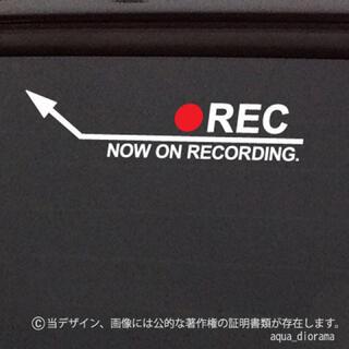 NOW RECORDING/ドラレコ録画中ステッカー:アロー左上WH(セキュリティ)