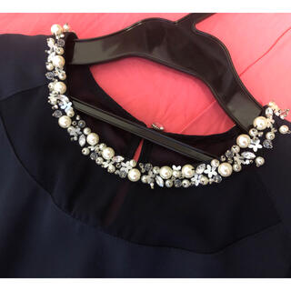 リランドチュール(Rirandture)の美品 一度着用のみ リランドチュール  ビジュー付き オールインワン 結婚式(オールインワン)