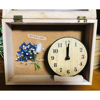 置き時計❁かすみ草 ムスカリ ラグラス ドライフラワー(ドライフラワー)