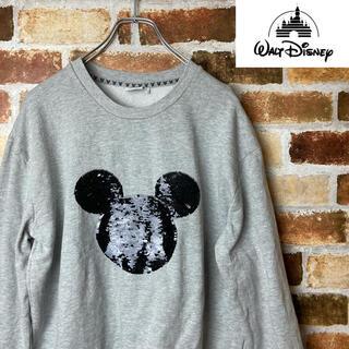 ディズニー(Disney)のDisney スウェット USA製 スパンコールミッキー レディースLサイズ(トレーナー/スウェット)