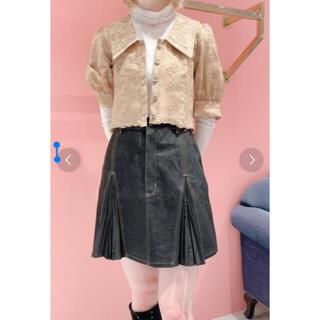 リルリリー(lilLilly)のlilLilly リルリリー プリーツデニムスカート ブラック(ミニスカート)
