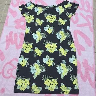ジーユー(GU)の花柄 Tシャツ ワンピース レディース(ミニワンピース)