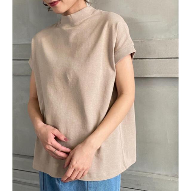coen(コーエン)の綿100%。USAコットンモックネックフレンチスリーブtee/moment+ レディースのトップス(Tシャツ(半袖/袖なし))の商品写真