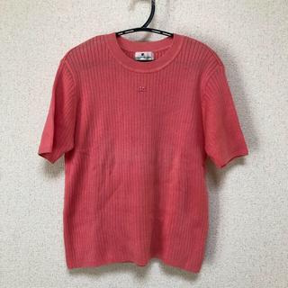 クレージュ(Courreges)のcourreges 半袖ニット リブニット ピンク(カットソー(半袖/袖なし))