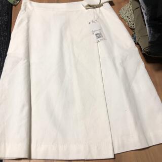 オフオン(OFUON)のホワイト新品スカート(ひざ丈スカート)