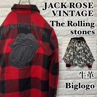 JACKROSE - ローリングストーンズ ジャックローズ チェックジャケット グランジ 牛革ロゴ