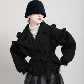 デザイナーズ キルティング フリル ショートジャケット ブラック