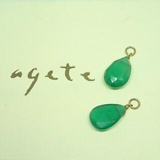 agete - agete アガット グリーンカルセドニー グリーンアゲート ピアスチャーム