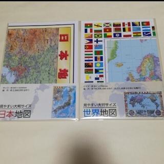 2点セット! 世界地図 日本地図 ポスター インテリア 知育玩具 地理 社会(地図/旅行ガイド)