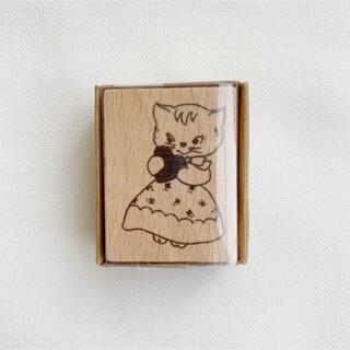 【新品】海外 レトロアニマル ねこちゃん 木製 スタンプ ハンコ(はんこ)
