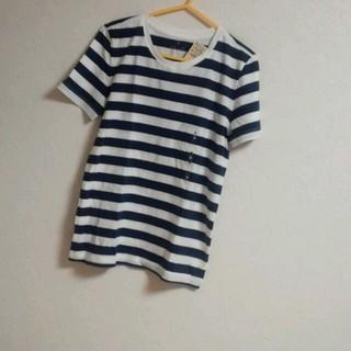 ムジルシリョウヒン(MUJI (無印良品))の新品未使用ネイビー×ホワイト(Tシャツ(半袖/袖なし))